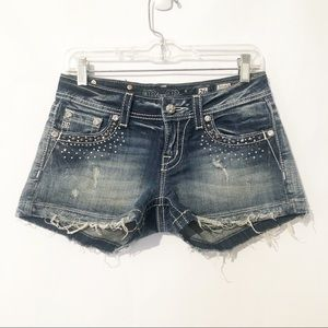 Miss Me Frayed Distressed Bling Shorts Size 26
